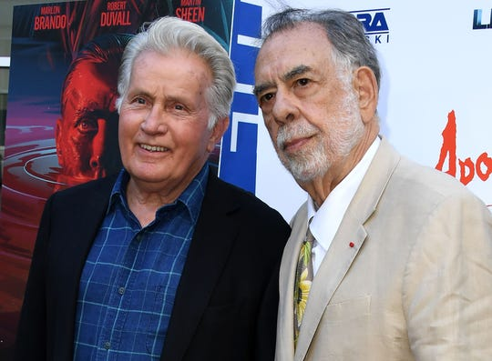 Director Francis Ford Coppola and Martin Sheen attend the Apocalypse Now Final Cut red carpet screening in Los Angeles on August 12.