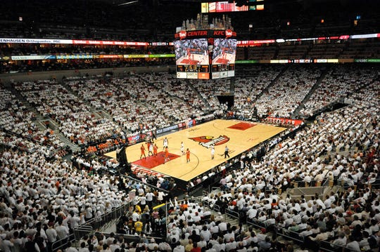 A general view of the KFC Yum! Center for a Louisville basketball game.
