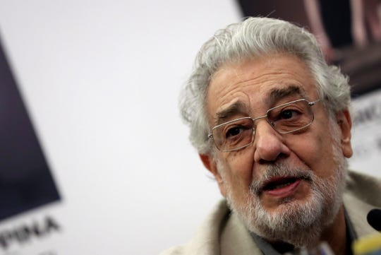 Placido Domingo speaks during a press conference at the Teatro Real in Madrid, Spain, 12 July 2019.