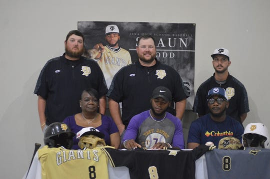 Jena infielder Shaun Todd (bottom row, center) signed with Texas College Monday.