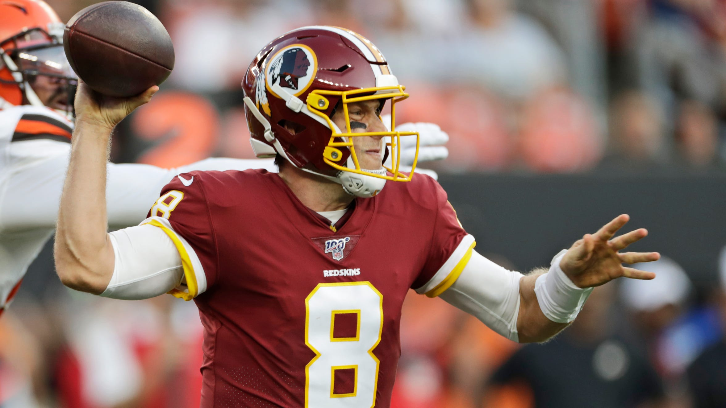 Washington Redskins quarterback Case Keenum looks downfield in preseason game against the Cleveland Browns.