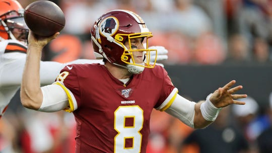 Washington Redskins quarterback Case Keenum looks to pass during the first half of an NFL preseason football game aCleveland Browns, Thursday, Aug. 8, 2019, in Cleveland. (AP Photo/Ron Schwane)