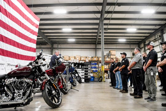 U.S. Rep. Mark Meadows, R-Transylvania, addresses employees of Rinehart Racing, a manufacturer of exhaust systems for Harley-Davidson and Indian Motorcycles, in Fletcher August 14, 2019.