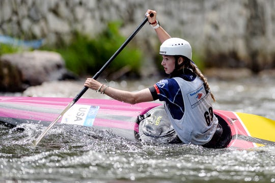 Evy Leibfarth competes in a kayak slalom event at Nantahala Outdoor Center August 10, 2019.