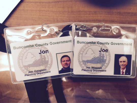 False Buncombe County government ID cards that Jon Creighton provided while he cooperated with federal officials' ongoing corruption investigation.