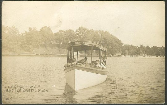This undated postcard shows a photo of the excursion boat Neptune on Goguac Lake. The gas launch collided with a rowboat in 1909, killing 22-year old Chloe Brown.