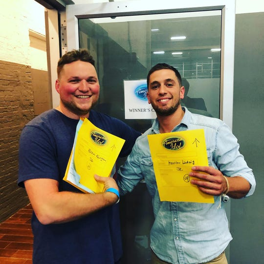 """From left: Evan Kuriga and Kevin Ludwig pose after successfully completing """"American Idol"""" auditions on July 28 at the Brooklyn Expo Center."""