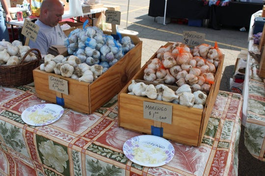 Various types of garlic were on sale during the 2017 Garlic Festival at the American Civic Association.