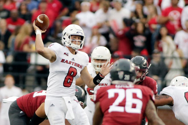 Eastern Washington quarterback Gage Gubrud faced Washington State in 2018. This summer Gubrud, a graduate transfer,  is practicing in Pullman and likely to succeed Gardner Minshew at quarterback for the Cougars.