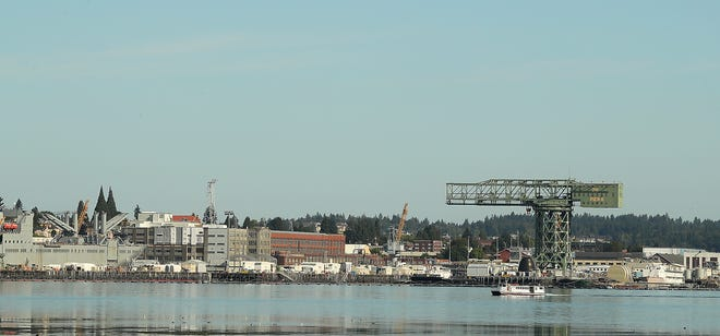 The Admiral Pete cruises past Puget Sound Naval Shipyard as seen from Port Orchard on Wednesday, August 14, 2019.