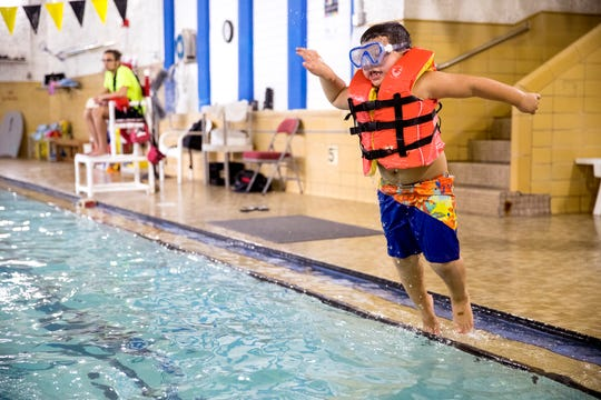 Jaxon Ruiz, 5, participates in the YMCA summer camp on Wednesday, August 14, 2019. The summer camp is popular because it is a rare summer camp that stays open until just before school starts.