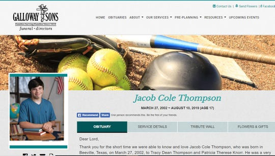 A screenshot shows an obituary for Jacob Cole Thompson who was shot in Beeville on Aug. 9, 2019.