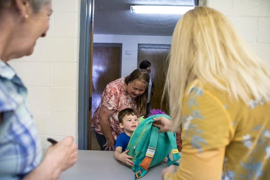 Adrian Lewis gets a bookbag full of school supplies at the Salvation Army in 2019 through the program Project School Tools sponsored by the Salvation Army. The project has been canceled for 2020 because of the coronavirus pandemic.