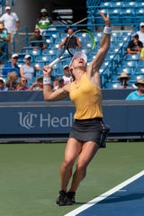 Simona Halep (ROU) prepares to serve at the Western and Southern Open at the Lindner Family Tennis Center in Mason, Ohio on Wednesday, August 14, 2019.