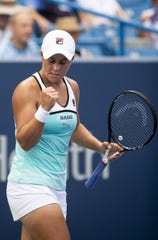 Ashleigh Barty of Australia reacts during her match against Maria Sharapova of Russia on Center Court at the Western & Southern Open Wednesday, August 14, 2019 in Mason, Ohio. Barty advanced in two sets 6-4, 6-1.