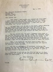 Nearly 20 years after the 19th Amendment was added to the Constitution, former National American Woman Suffrage Association leader Carrie Chapman Catt wrote to newspaper advice columnist Dorothy Dix, a Montgomery County native, to reminisce about their work for woman suffrage. The letter is now housed in the Austin Peay State University Woodward Library Archives' Dorothy Dix Collection.