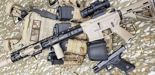 The VK Integrated Systems' XR-A1 FDE rifle, with armor.
