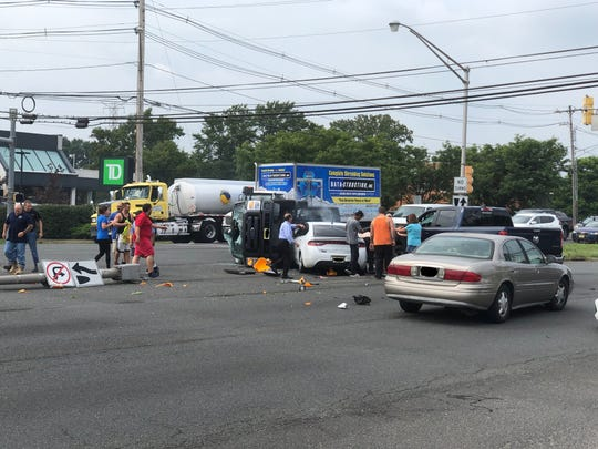 Two vehicle crash reported at the intersection of Route 9 and Perrine Road in Old Bridge