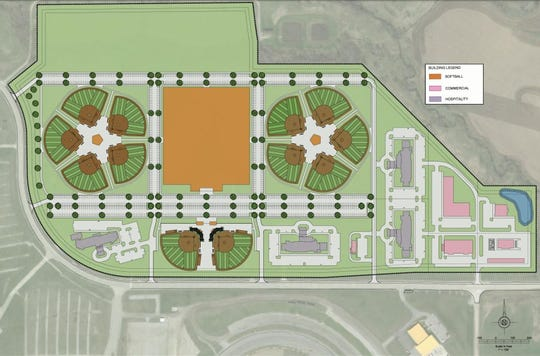 Project Fastpitch, a $32 million facility, will have four indoor and 12 outdoor softball fields. Future development includes hotels and retail.