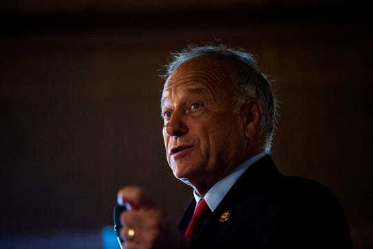 U.S. Rep. Steve King, R-Kiron, speaks to the Westside Conservative Club on Wednesday, Aug. 14, 2019, at The Machine Shed in Urbandale.