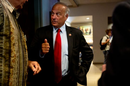 U.S. Rep. Steve King, R-Kiron, talks with Iowans as they leave the Westside Conservative Club meeting on Wednesday, Aug. 14, 2019, at The Machine Shed in Urbandale.