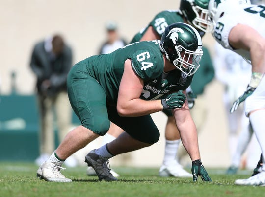 Michigan State defensive lineman Jacob Slade during the spring game on April 13, 2019, in East Lansing.