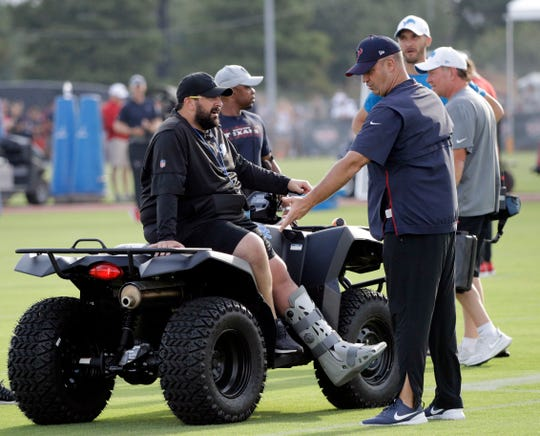 Lions coach Matt Patricia, left, talks with Texans coach Bill O'Brien during joint training camp football practice on Wednesday, Aug. 14, 2019, in Houston.
