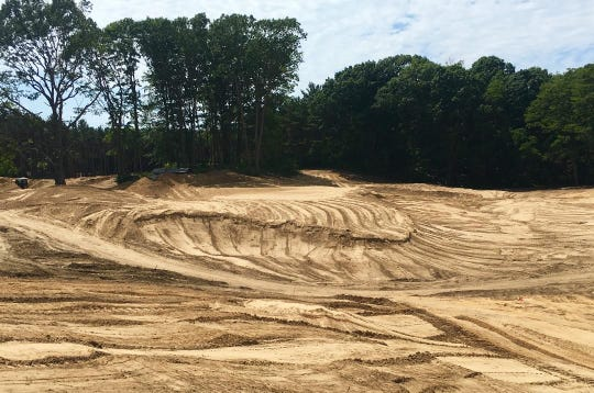 Hole 7 green complex shown before seeding of grass takes place within a week at the American Dunes golf course in Grand Haven.