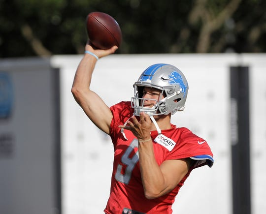 Lions quarterback Matthew Stafford throws a pass during joint training camp football practice with the Houston Texans on Wednesday, Aug. 14, 2019, in Houston.