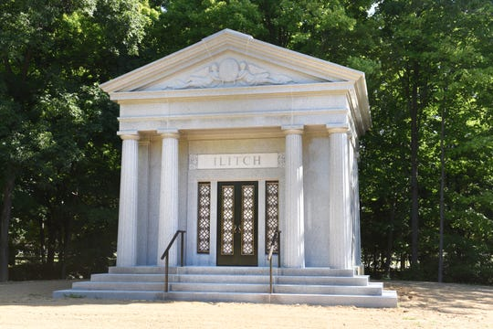 A mausoleum for Mike Ilitch has been constructed at Holy Sepulchre Cemetery in Southfield.  The neoclassical mausoleum features fluted pillars, bronze doors and twin angels and was constructed out of white granite mined from a California quarry.