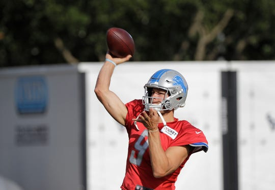 Detroit Lions quarterback Matthew Stafford throws a pass during the joint practice with the Houston Texans on Wednesday.
