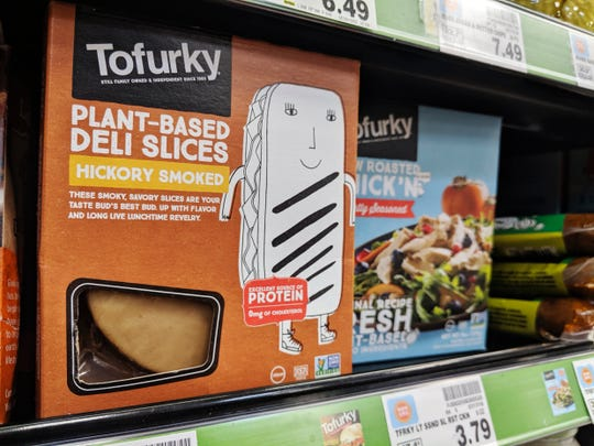 "Tofurky brand plant-based ""deli slices"" are sold at a Little Rock grocery store in this Monday, July 22, 2019 photo."