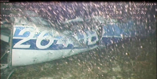 In this image released Monday Feb. 4, 2019, by the UK Air Accidents Investigation Branch (AAIB) showing the rear left side of the fuselage including part of the aircraft registration N264DB, in the English Channel after it went missing carrying Argentine soccer player Emiliano Sala on Jan. 21 2019.