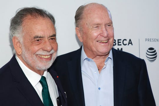 "Director Francis Ford Coppola, left, and actor Robert Duvall attend a screening of the ""40th Anniversary and World Premiere of Apocalypse Now Final Cut"" during the 2019 Tribeca Film Festival on April 28, 2019, in New York."