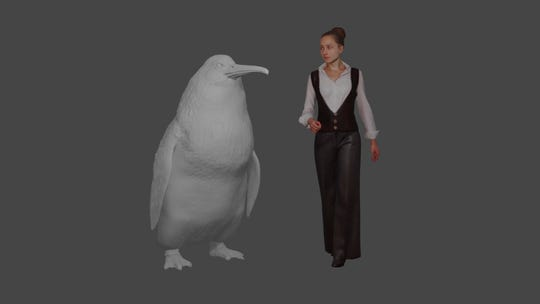 "The approximate height of a giant penguin, a ""crossvallia waiparensis"" next to a human being."