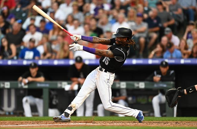 Colorado Rockies left fielder Raimel Tapia singles during Wednesday's game against the Arizona Diamondbacks at Coors Field in Denver. The Rockies are off Thursday and begin a three-game home series against the Florida Marlins at 6:40 p.m. Friday.