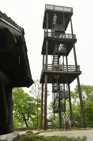 Peninsula State Park's Eagle Tower was torn down in 2016. A new tower is promised, but funding remains a question mark. Tina M. Gohr/USA TODAY NETWORK-Wisconsin