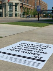"""A graphic tells the story of someone who experiences homelessness in Green Bay as part of the St. John's """"See Me"""" campaign."""
