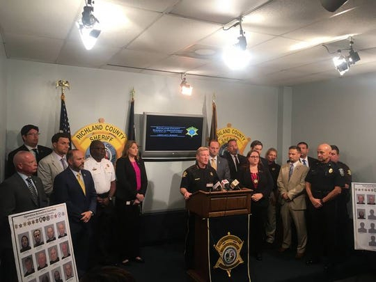 Richland Sheriff Leon Lott with officials from 12 other agencies discuses a sting to arrest child predators and people trying to buy sex.