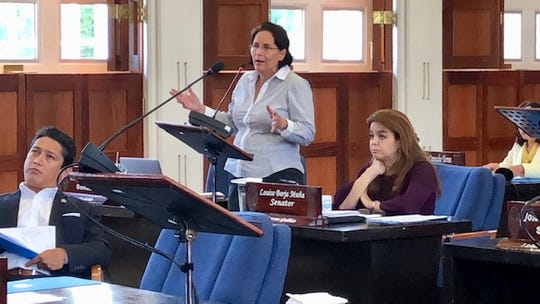 Sen. Telo Taitague gestures as she addresses the speaker during an Aug. 14, 2019 session.