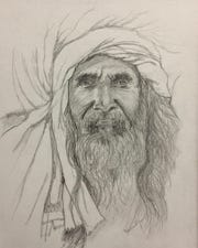 """Bedouin Man"" by Susan Paradis is part of ""For the Love of Drawing"" exhibit."