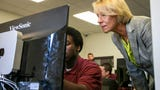 U.S. Secretary of Education Betsy DeVos visits a classroom at Pendleton Juvenile Correctional Facility to observe a coding program called Last Mile, Wednesday, August 14, 2019, in Pendleton, IN