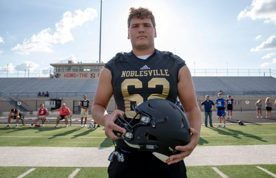Noblesville offensive lineman Cameron Knight