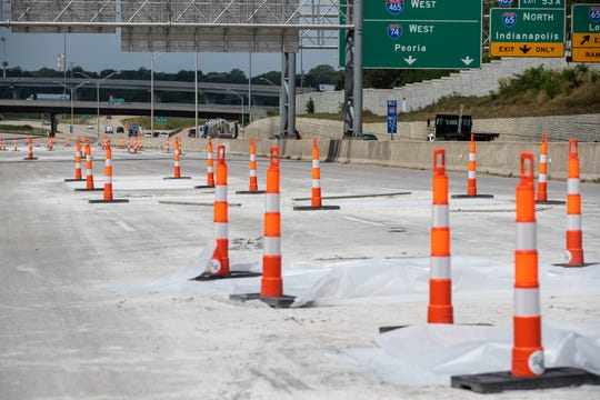 A look at the I-465 closure construction in Indianapolis on Wednesday, Aug. 14, 2019.