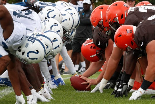 The Indianapolis Colts and Cleveland Browns special teams work against each other during their preseason training camp practice at Grand Park in Westfield on Wednesday, August 14, 2019.