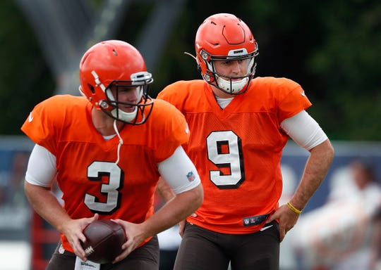Former Purdue Boilermaker now Cleveland Browns quarterback David Blough (9) during their preseason training camp practice at Grand Park in Westfield on Wednesday, August 14, 2019.