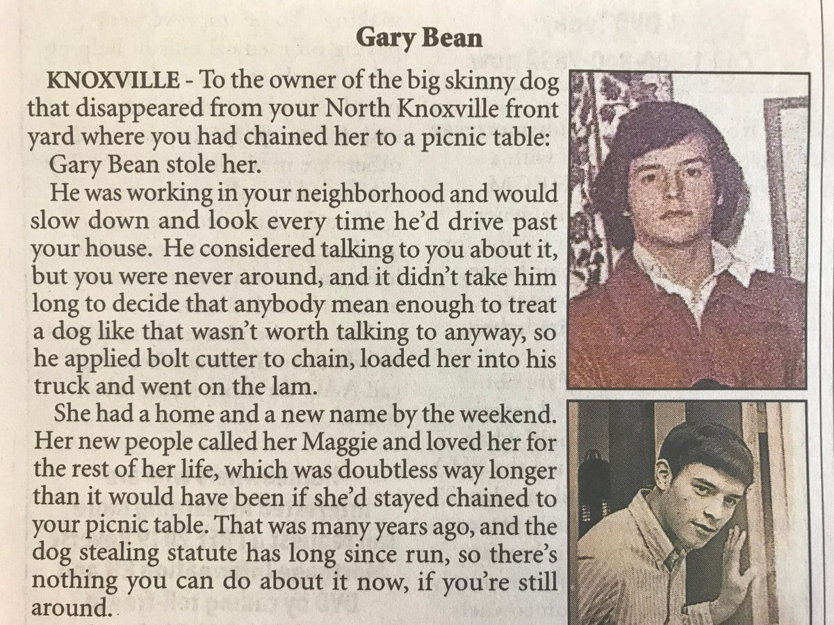 Gary Bean obituary: Knoxville man won't apologize for