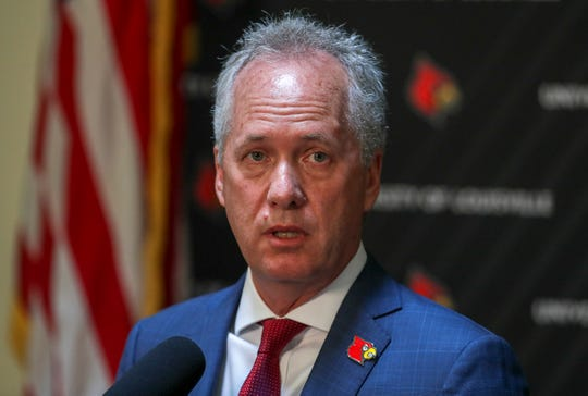Mayor Greg Fischer speaks during a press conference at UofL about the acquisition of Jewish Hospital.August 14, 2019