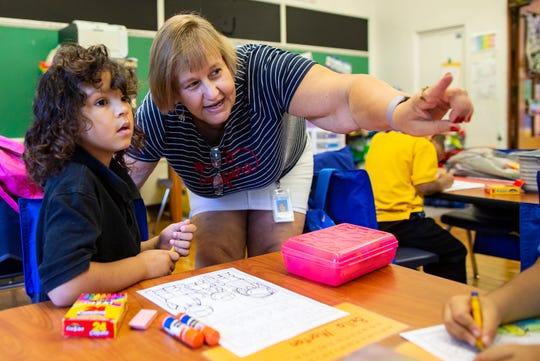First grade teacher Carrie Thompson.