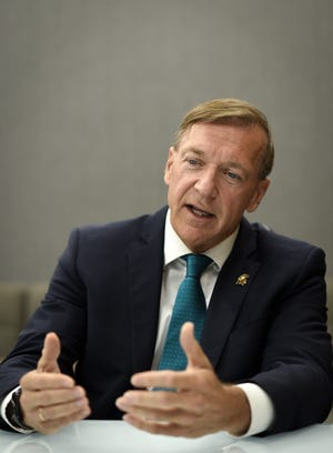 """I'm going to be meeting with survivors, I'm looking forward to meeting with survivors, what are the issues still out there we need to be working on? It's a high priority for me to do that,"" new Michigan State University President Samuel Stanley said during an interview with the Lansing State Journal Wednesday, Aug. 14, 2019, at the Hannah Administration Building."